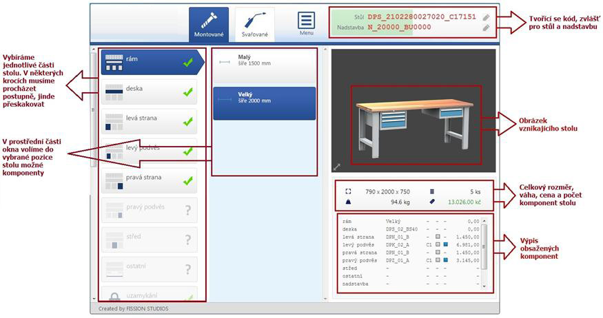 display-overview of the workbenches configurator